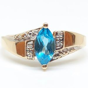 10k Yellow Gold Genuine Blue Zircon & Diamond Ring